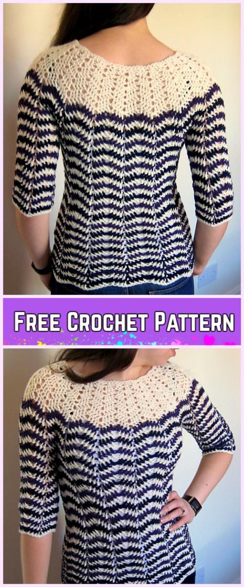 Crochet Chevron Stripe Sweater Free Pattern