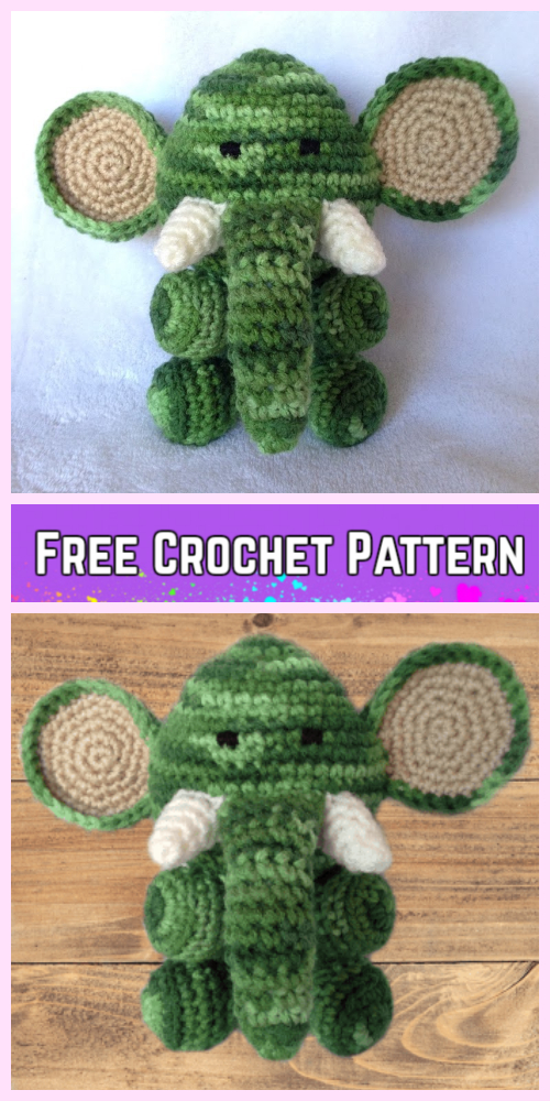 Crochet Elephant Plush Toy Amigurumi Free Patterns-Crochet Amigurumi elephant Free Pattern