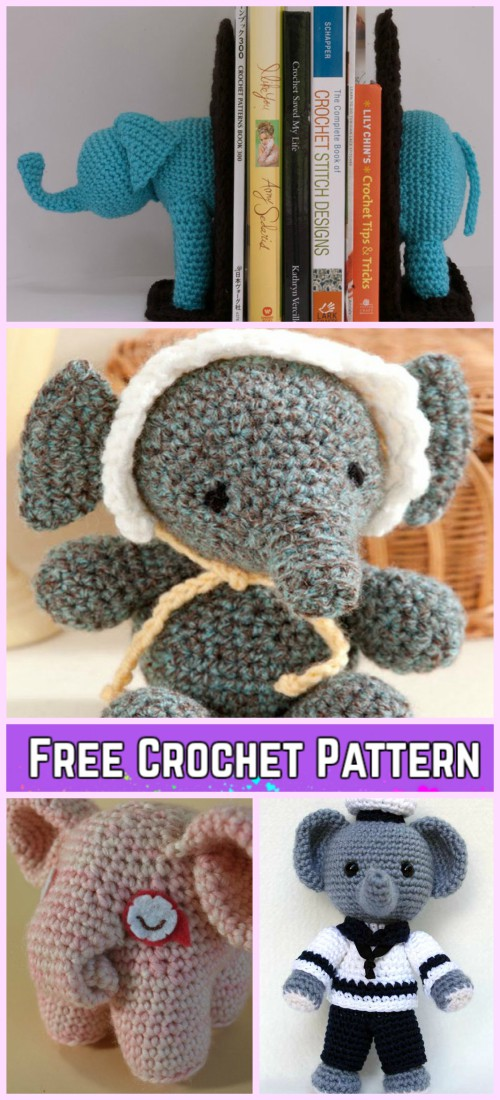 Crochet Elephant Softie and More Free Patterns Tutorials | 1100x500