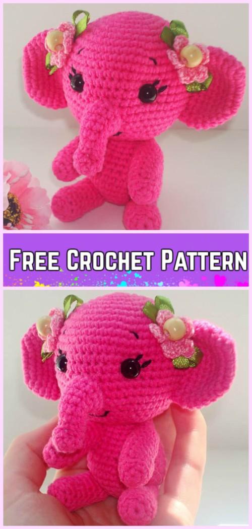 Crochet Elephant Plush Toy Amigurumi Free Patterns-Crochet Pink Elephant Free Pattern