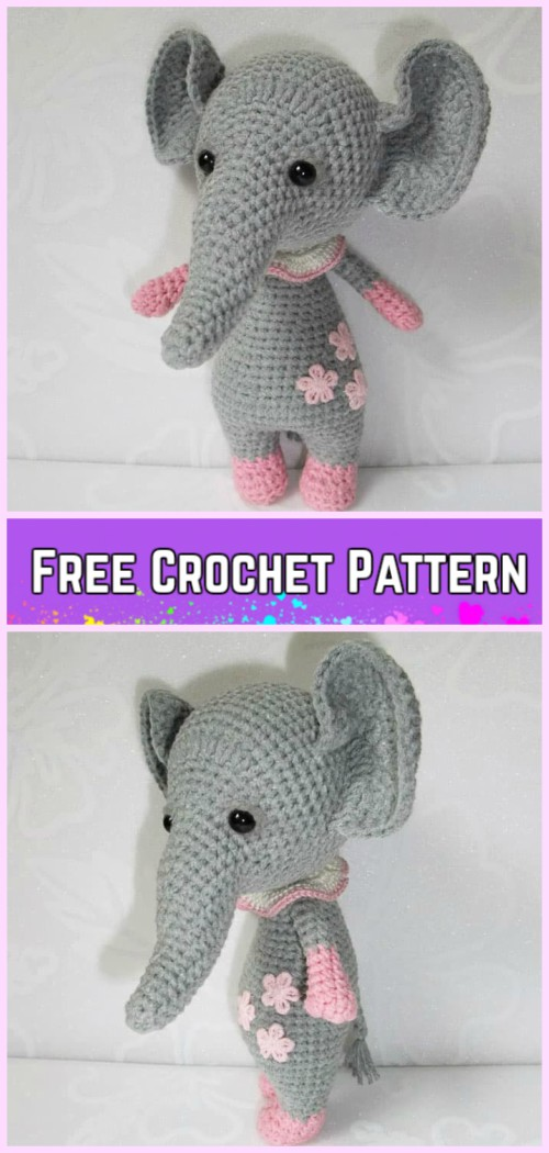 Pink crochet elephant pattern - Amigurumi Today | 1050x500