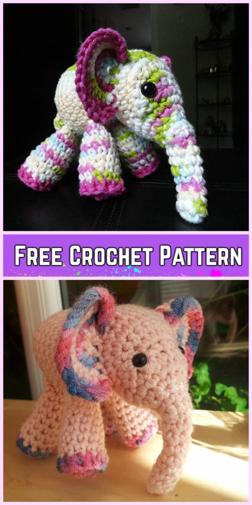 Crochet Elephant Plush Toy Amigurumi Free Patterns-Crochet Meimei Baby Elephant Amigurumi Free Pattern