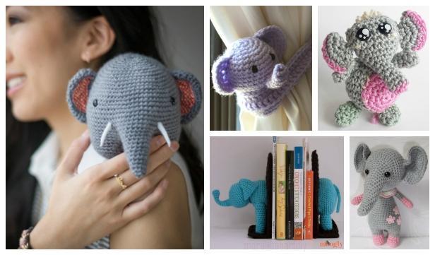 10 Crochet Elephant Plush Toy Amigurumi Free Patterns
