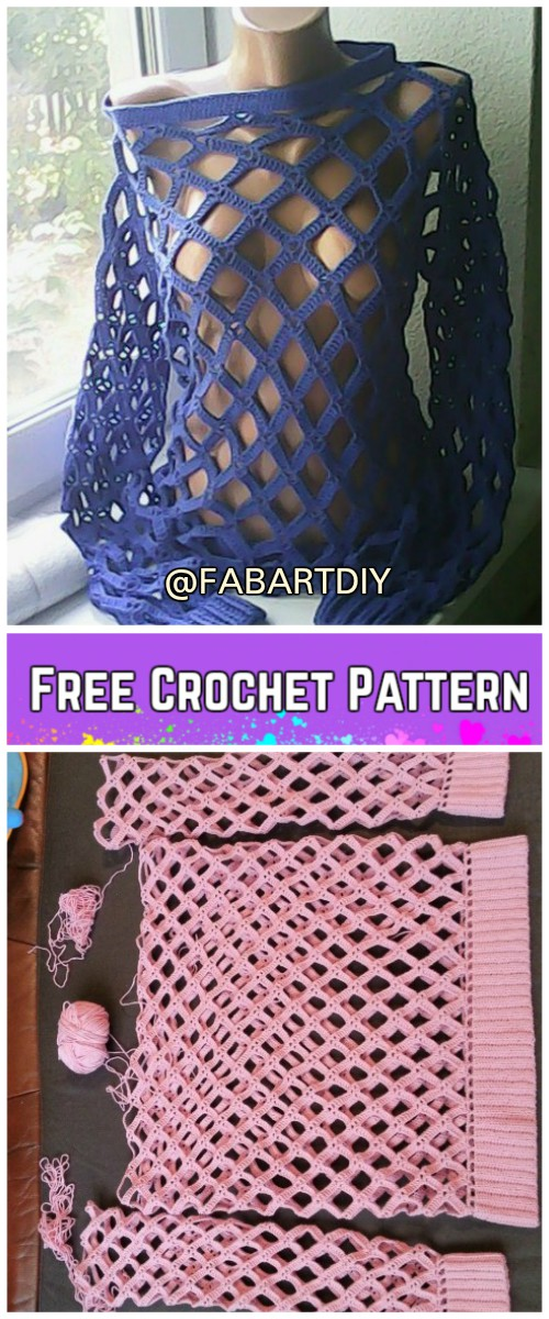 Crochet Off Shoulder Net Spring Sweater Free Pattern (Video)
