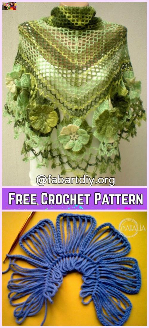 Crochet Solomon Knot Stitch Shawl HairPIN Flower Edging Free Pattern