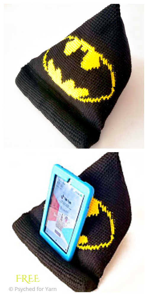Batty Tablet Stand Pillow Free Crochet Pattern
