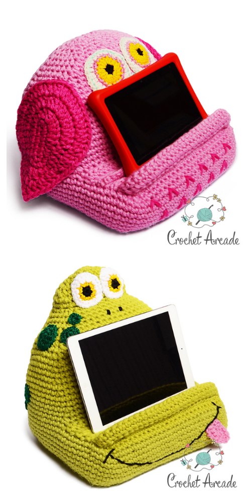 Owl + Frog Book/Tablet Holder Crochet Pattern