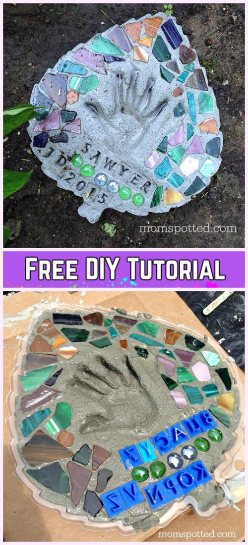 DIY Leaf Shaped Handprint Garden Stepping Stones Tutorial