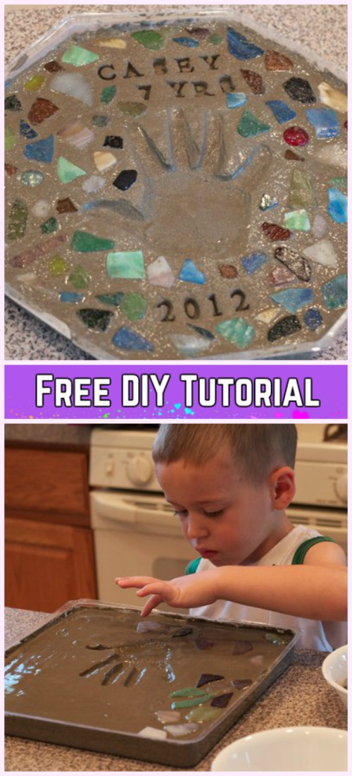 DIY Cute Cement Stepping Stone Tutorial