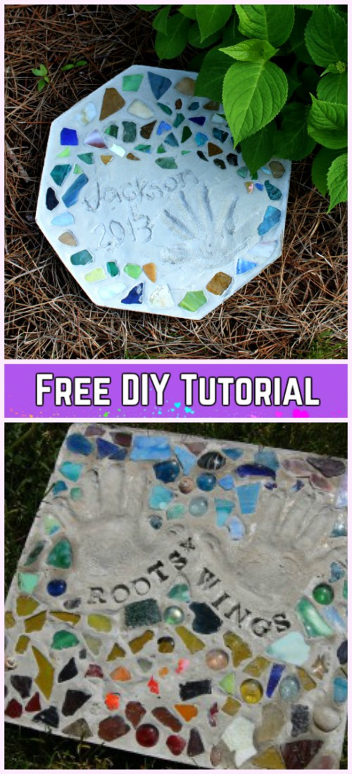 DIY MOSAIC TILE Garden Stepping Stones Tutorial