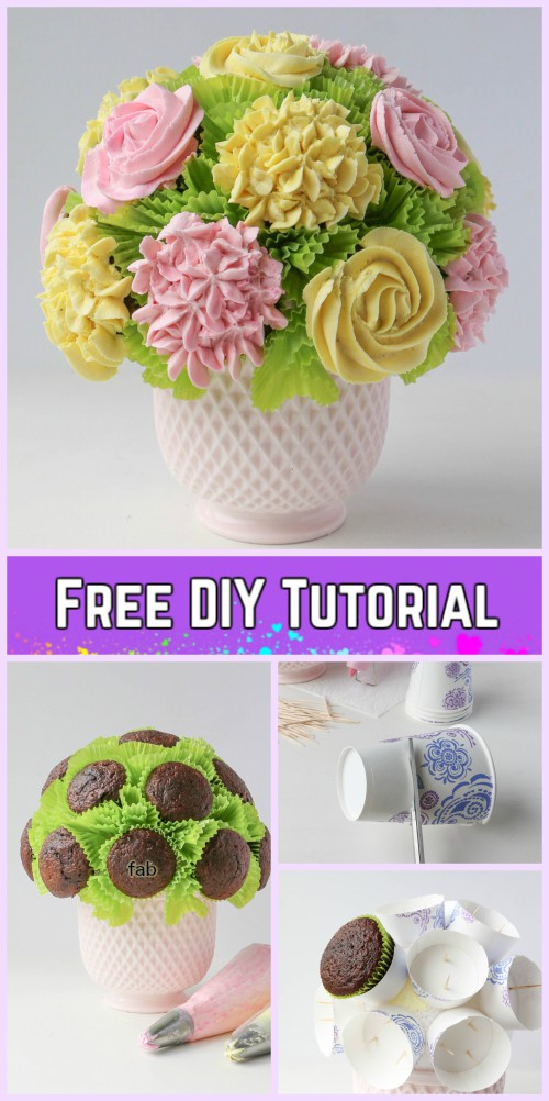 DIY Flower Cupcake Bouquet in Pot Tutorials-DIY Flower Pot Rose Bouquet Recipe