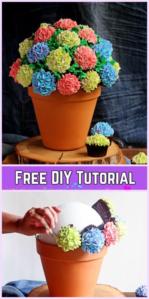DIY Flower Cupcake Bouquet in Pot Tutorials- DIY Cupcake Flower Bouquet Tutorial