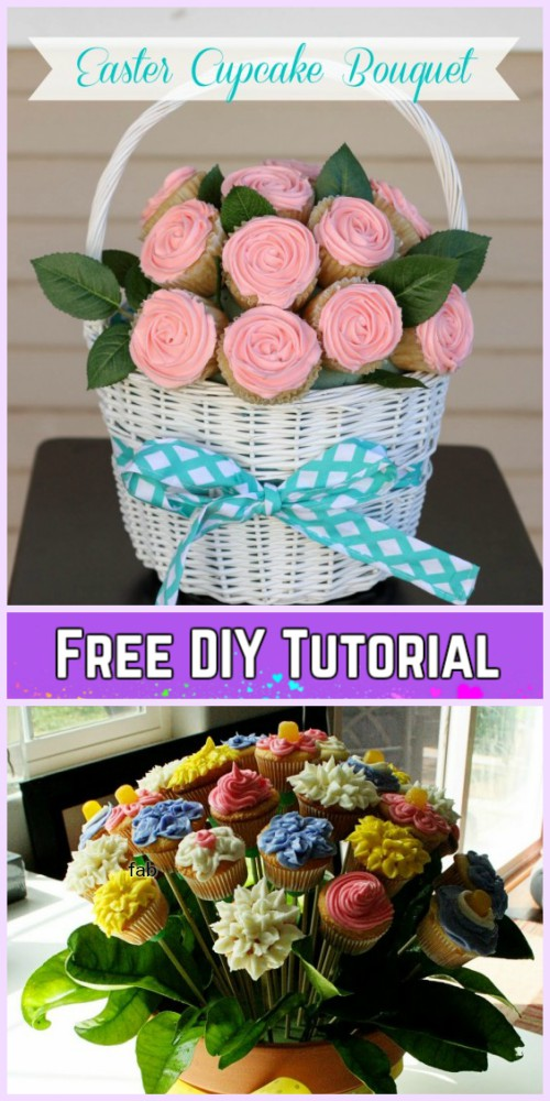 DIY Flower Cupcake Bouquet in Pot Tutorials- DIY Easter Flower Cupcake Bouquets Tutorials