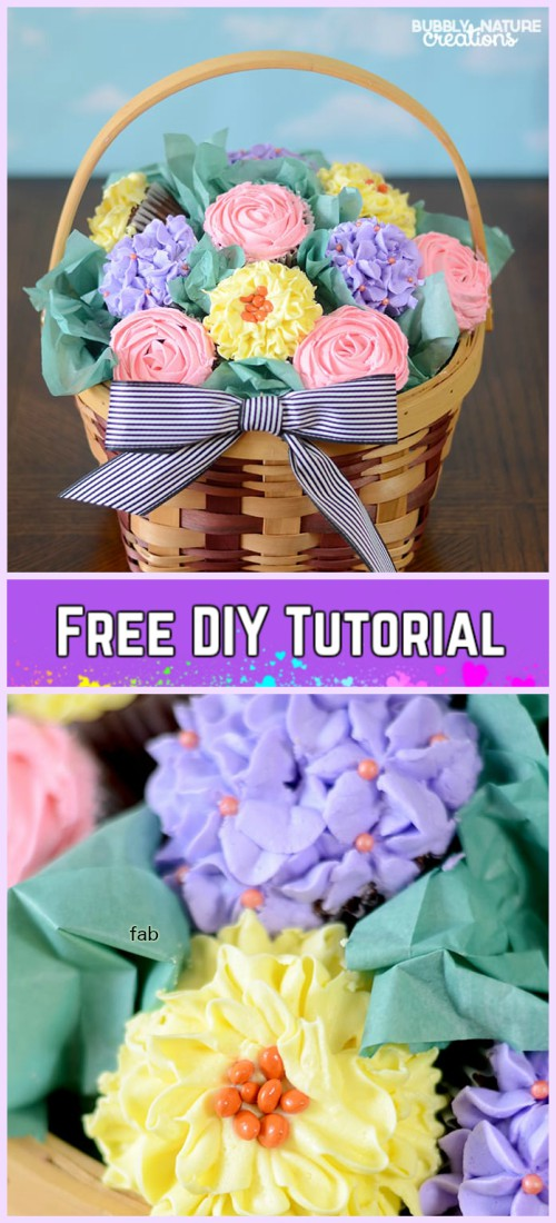 DIY Flower Cupcake Bouquet in Pot Tutorials- DIY Cupcake Bouquet Basket Tutorial