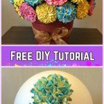 DIY Flower Cupcake Bouquet in Pot Tutorials- DIY Hydrangeas Chrysanthemums Roses CupcakeFlower BouquetTutorial