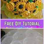 DIY Flower Cupcake Bouquet in Pot Tutorials- DIY Roses, sunflowers, dahlias Flower bouquet Tutorial