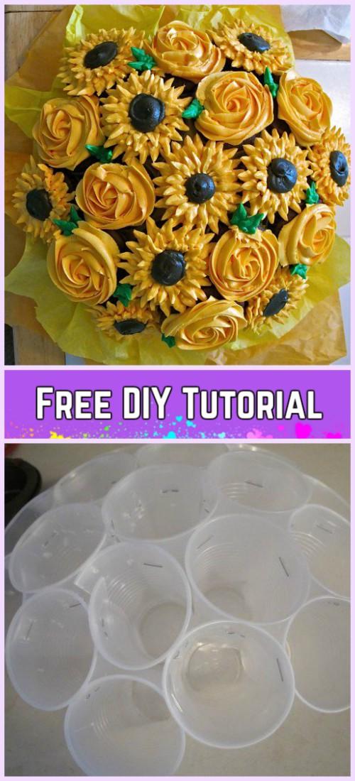 DIY Flower Cupcake Bouquet in Pot Tutorials-DIY Flower Pot Rose Bouquet Recipe