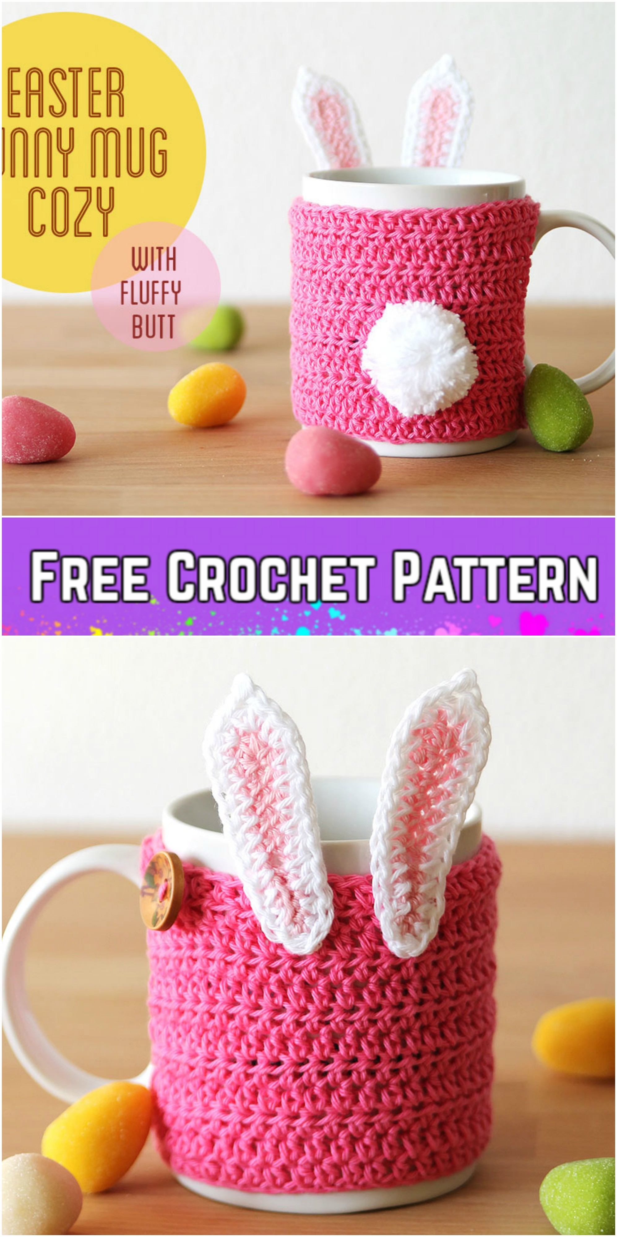 Easter Gifts for teachers Easter Bunny Crochet Cup Sleeve Bunny Crochet Coffee Cup Cozy Pattern Woodland Animal Crochet Cozy