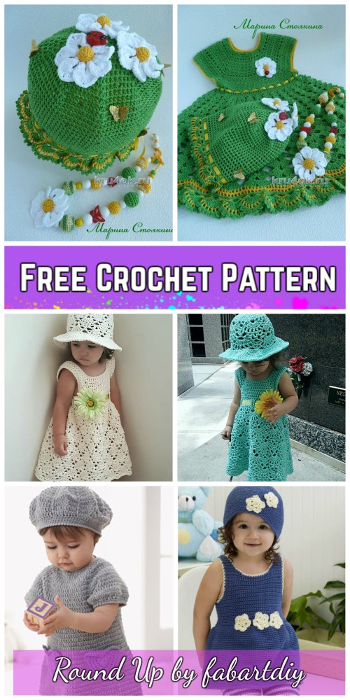 Girls Summer Dress & Hat Set Crochet Free Patterns