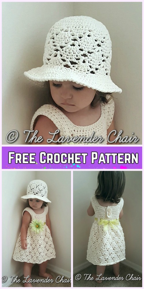 Girls Summer Dress Hat Set Crochet Free Patterns