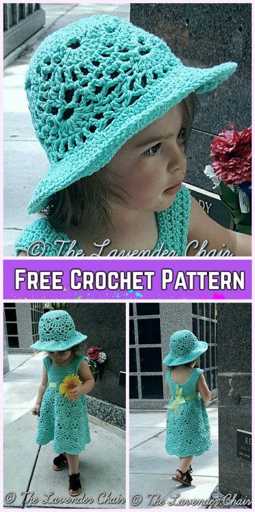 Little Girls Lacy Shells Dress&Hat Set Crochet Free Patterns