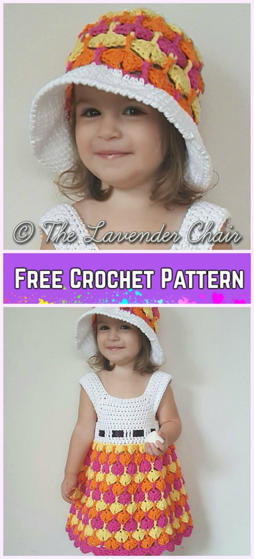 Little Girls uiver Fans Dress&Hat Set Crochet Free Patterns