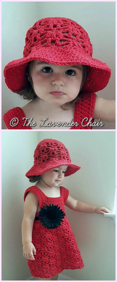Weeping Willow Toddler Dress &Hat Set Crochet Free Patterns