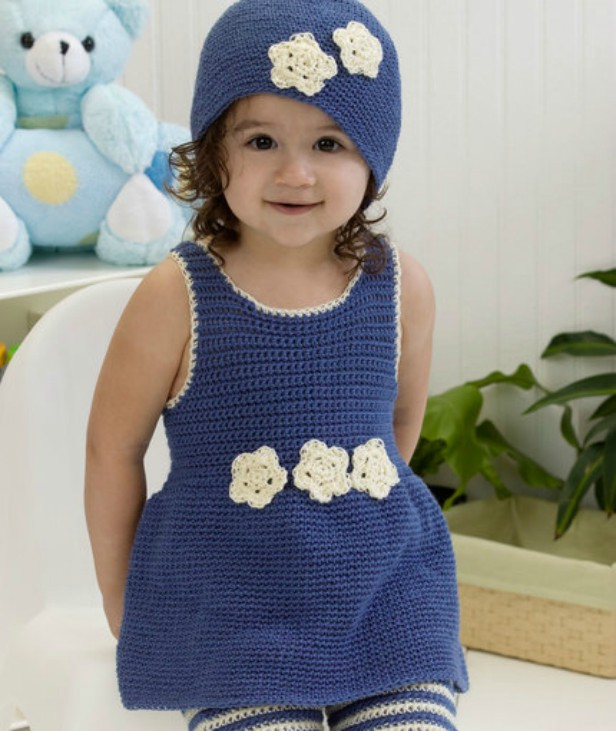 Crochet Darling One-Piece Romper & Hat Set Free Crochet Pattern