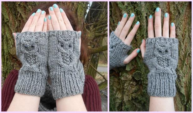 Knit Owl Mitts Fingerless Gloves Free Knitting Pattern