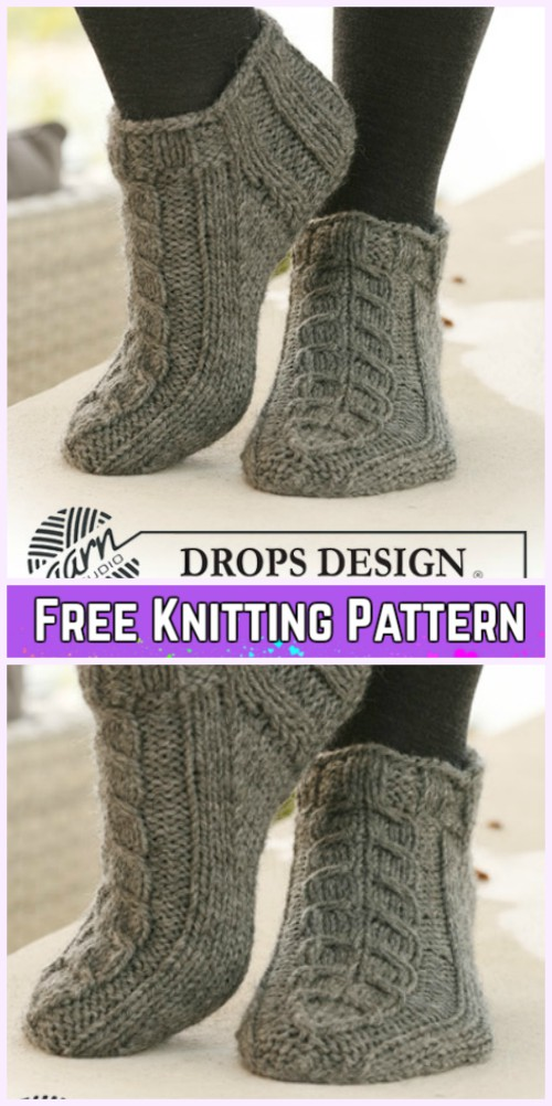 Knit Short Cable Socks Free Knitting Pattern