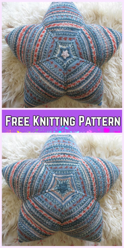 Knit Star Pillow Cushion Free Knitting Pattern
