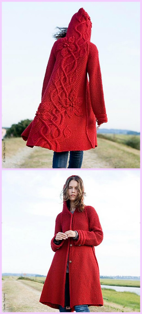 Knit Sylvi Flower Cardigan Coat Knitting Pattern with Video Tutorial