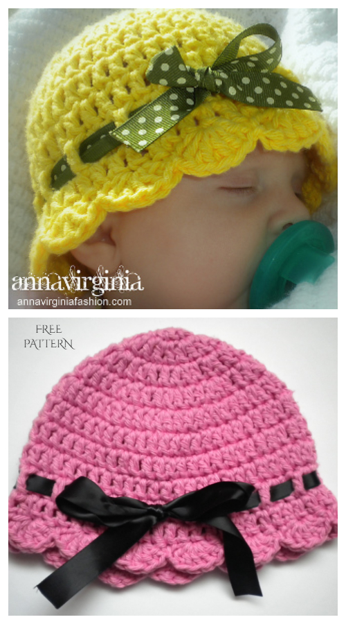 Crochet Baby Flapper Girl Hat Free Pattern