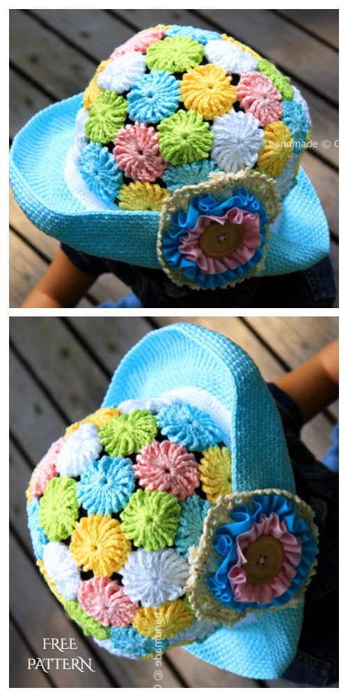 Crochet YOYO-PUFF WIDE BRIM HAT Free Pattern