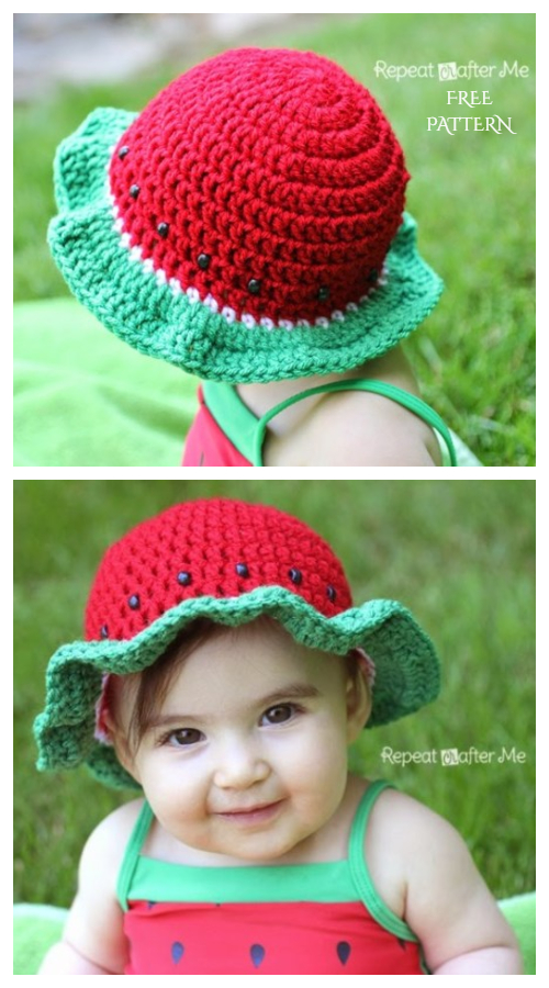 Baby Watermelon Sun Hat Free Crochet Pattern