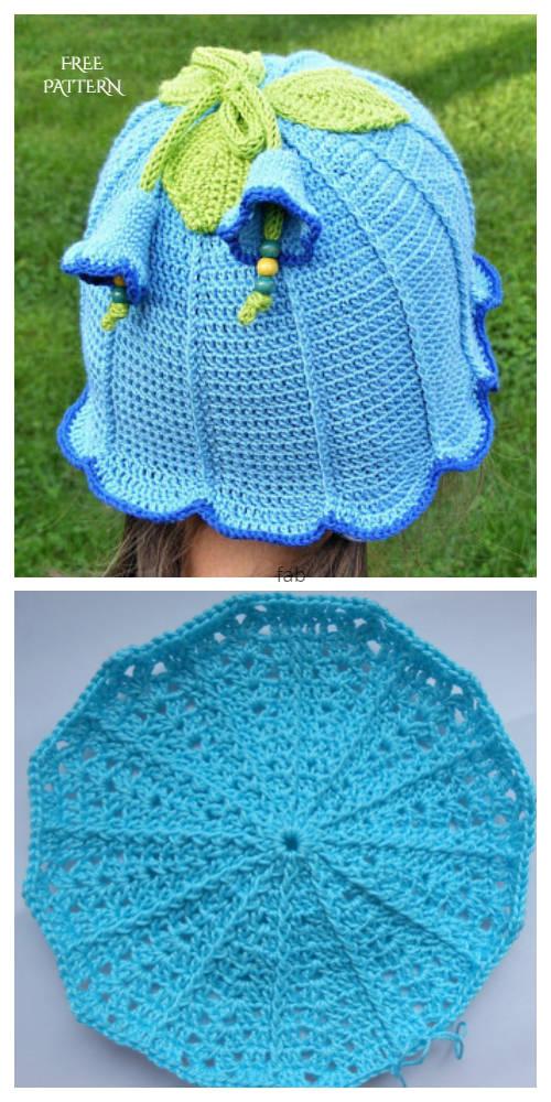 Bluebell Flower Sun Hat Free Crochet Pattern