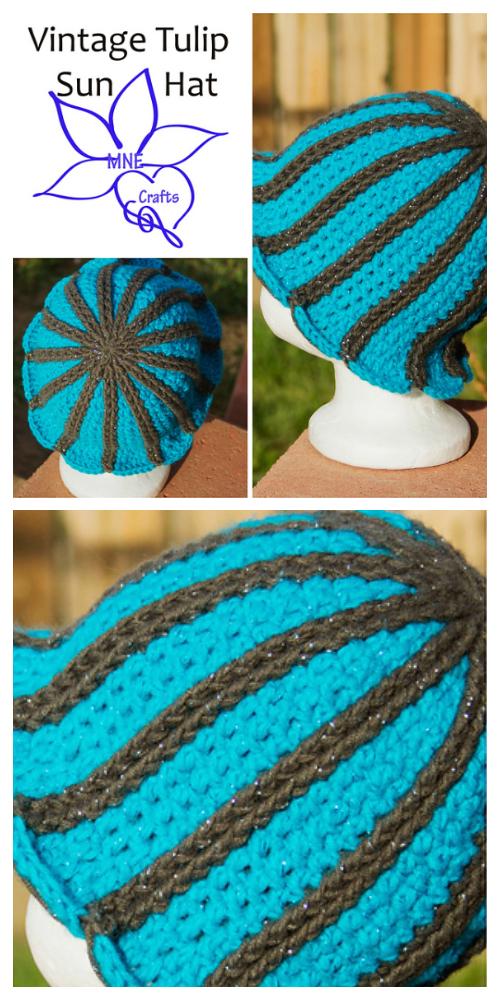 Vintage Tulip Sun Hat Free Crochet Pattern