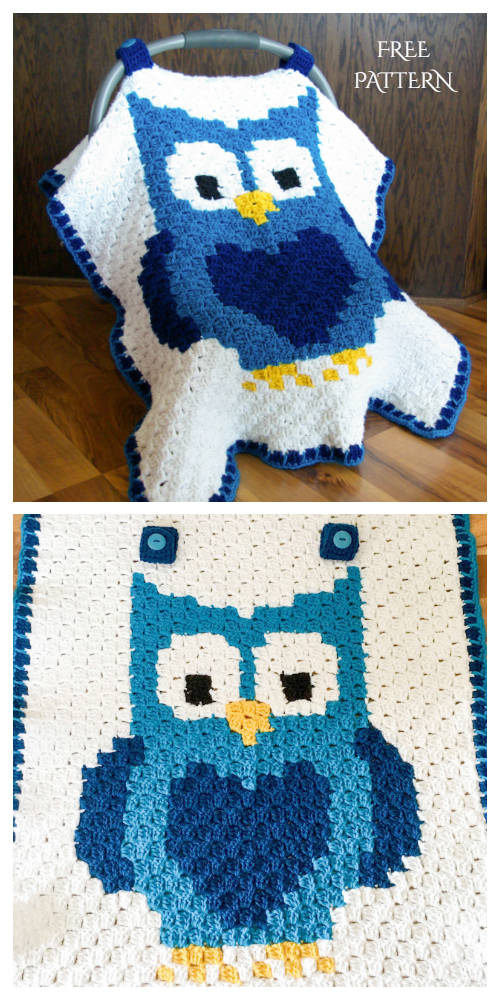 C2C Crochet Owl Car Seat Canopy Free Pattern + Video