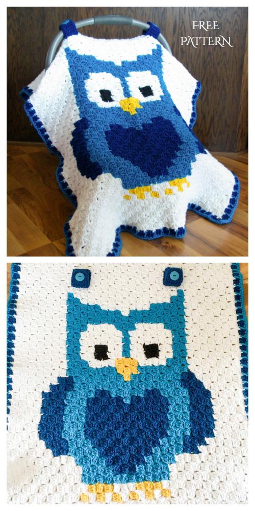 C2C Crochet Owl Car Seat Canopy Free Pattern + Video
