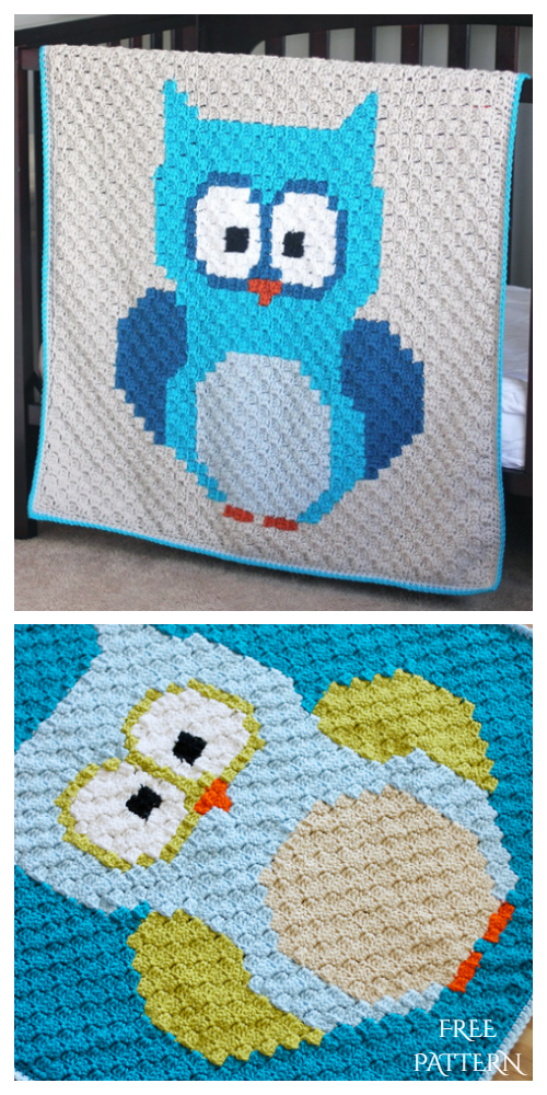 C2C Crochet Baby Owl  Blanket Free Pattern + Video