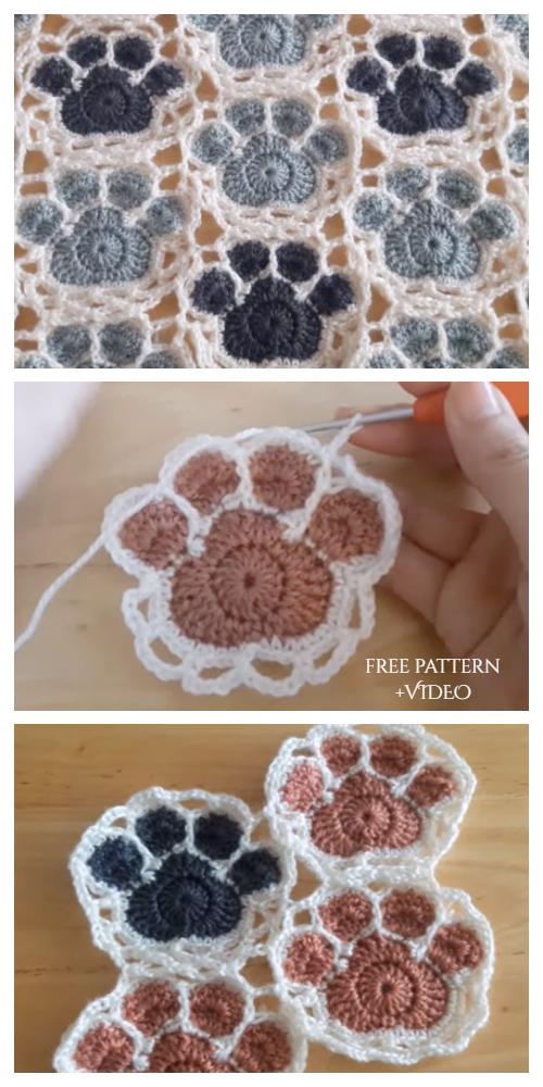 Cute Paw Print Doily Free Crochet Pattern + Video