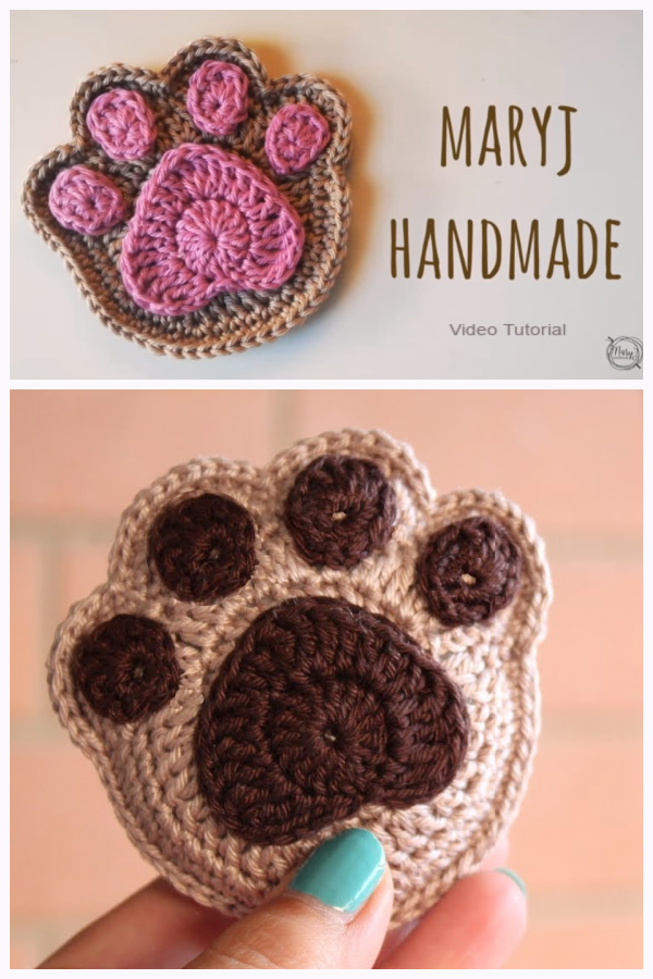 Super Cute Paw Print Applique Free Crochet Pattern + Video