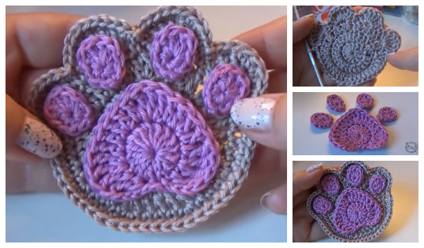 Super Cute Paw Print Coaster Free Crochet Pattern + Video