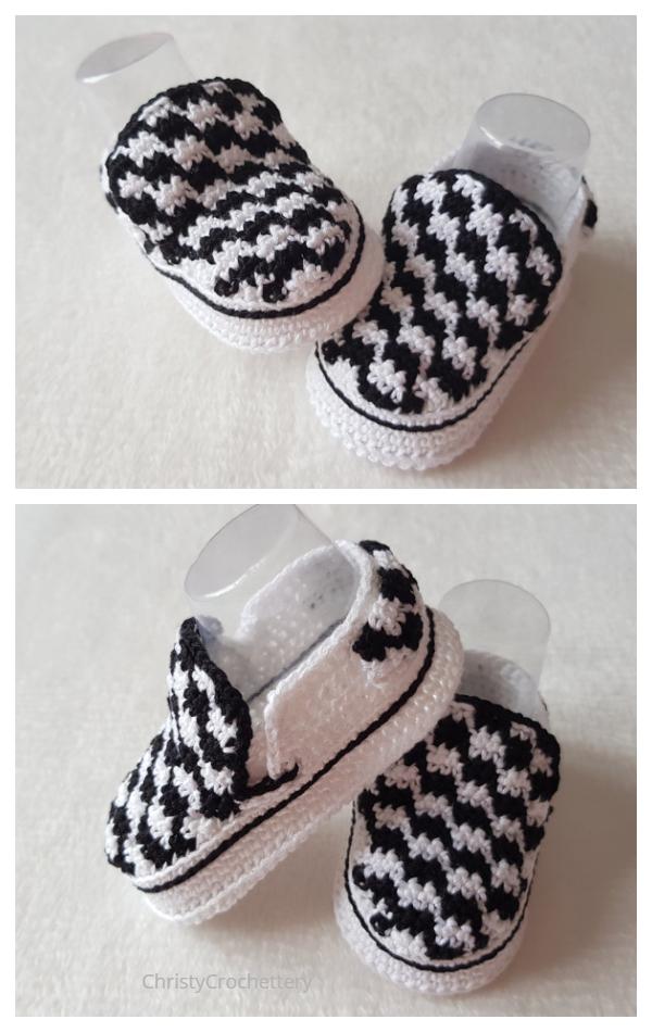 Crochet Vans Style Slip On Baby Sneakers Crochet Pattern
