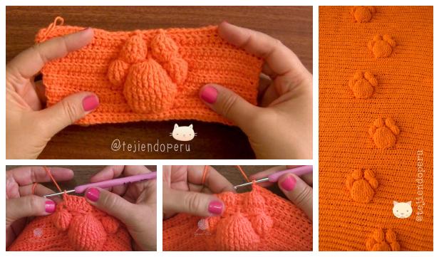 Crochet 3D Cat Paw Prints Blanket Free Pattern-Video