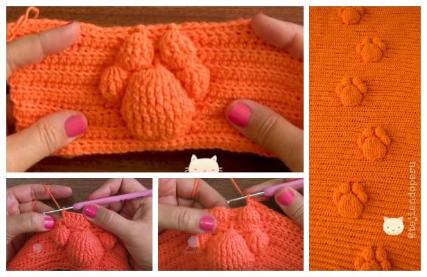 Crochet 3D Cat Paw Prints Blanket Free Pattern +Video