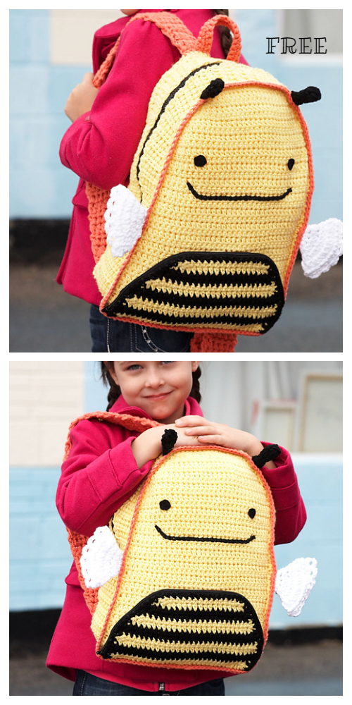 Busy Bee Backpack Free Crochet Pattern for Kids