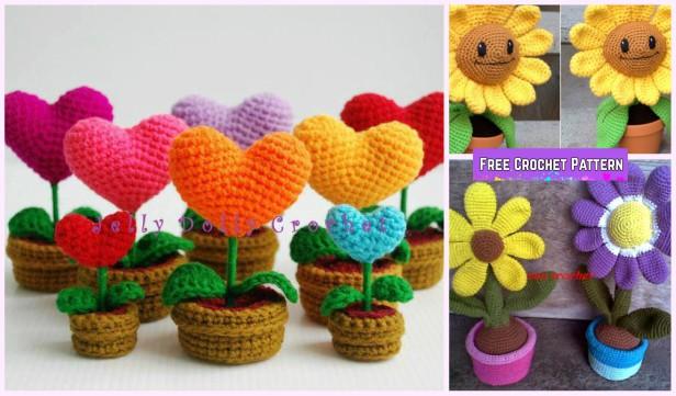 Crochet 3D Flower In Pot Free Crochet Pattern - Crochet Flower Pot Amigurumi Free Pattern