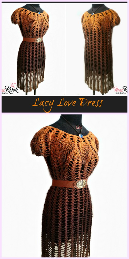 Crochet Pineapple Stitch Lacy Love Dress Free Crochet Pattern for Ladies
