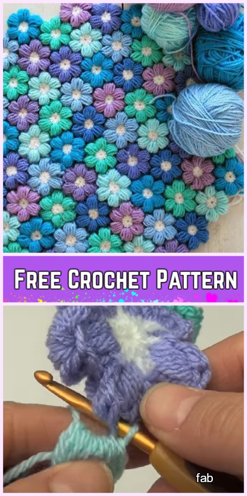 Crochet Puff Stitch Flower Blanket Free Pattern Video Tutorial
